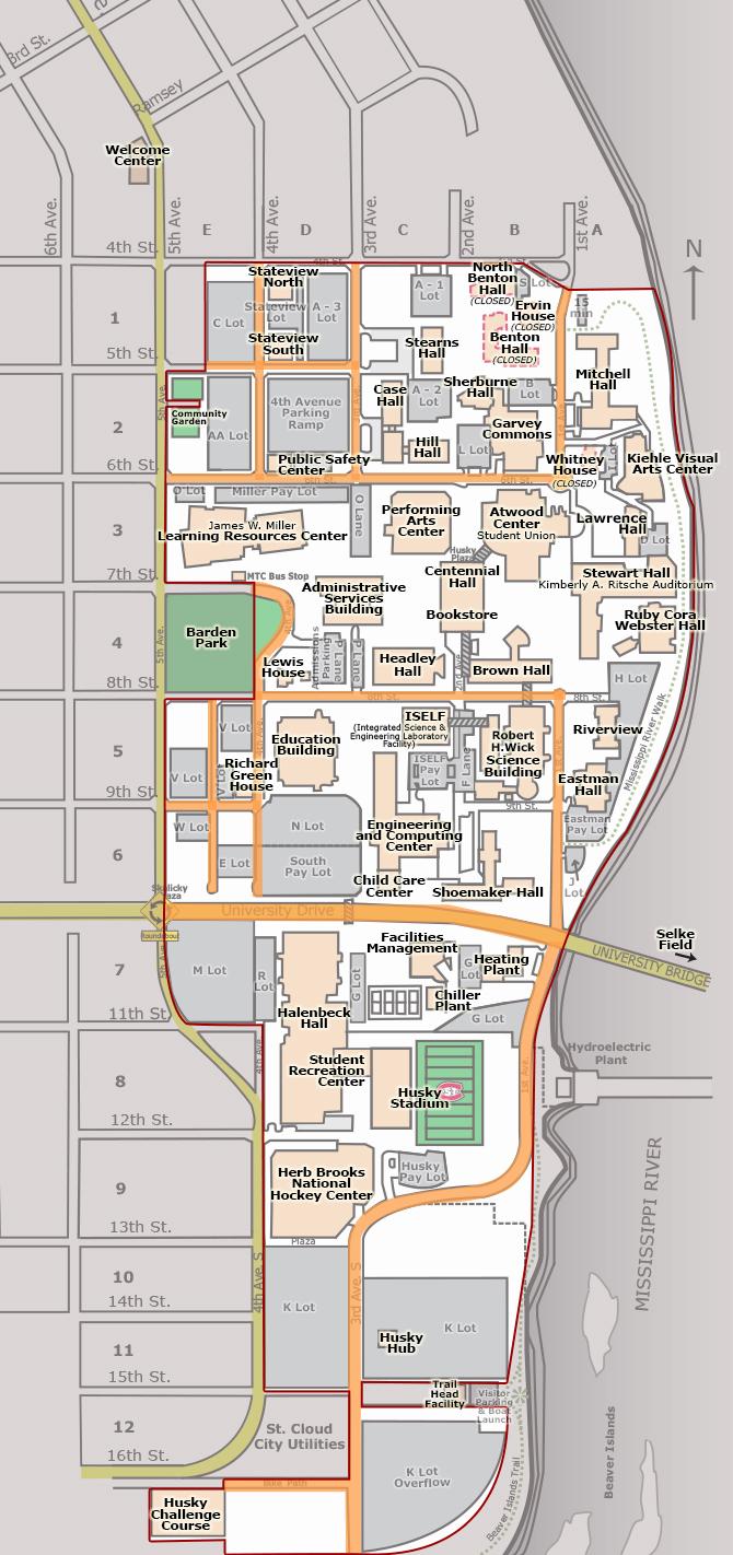 Campus Map Campus Boundaries St Cloud State University