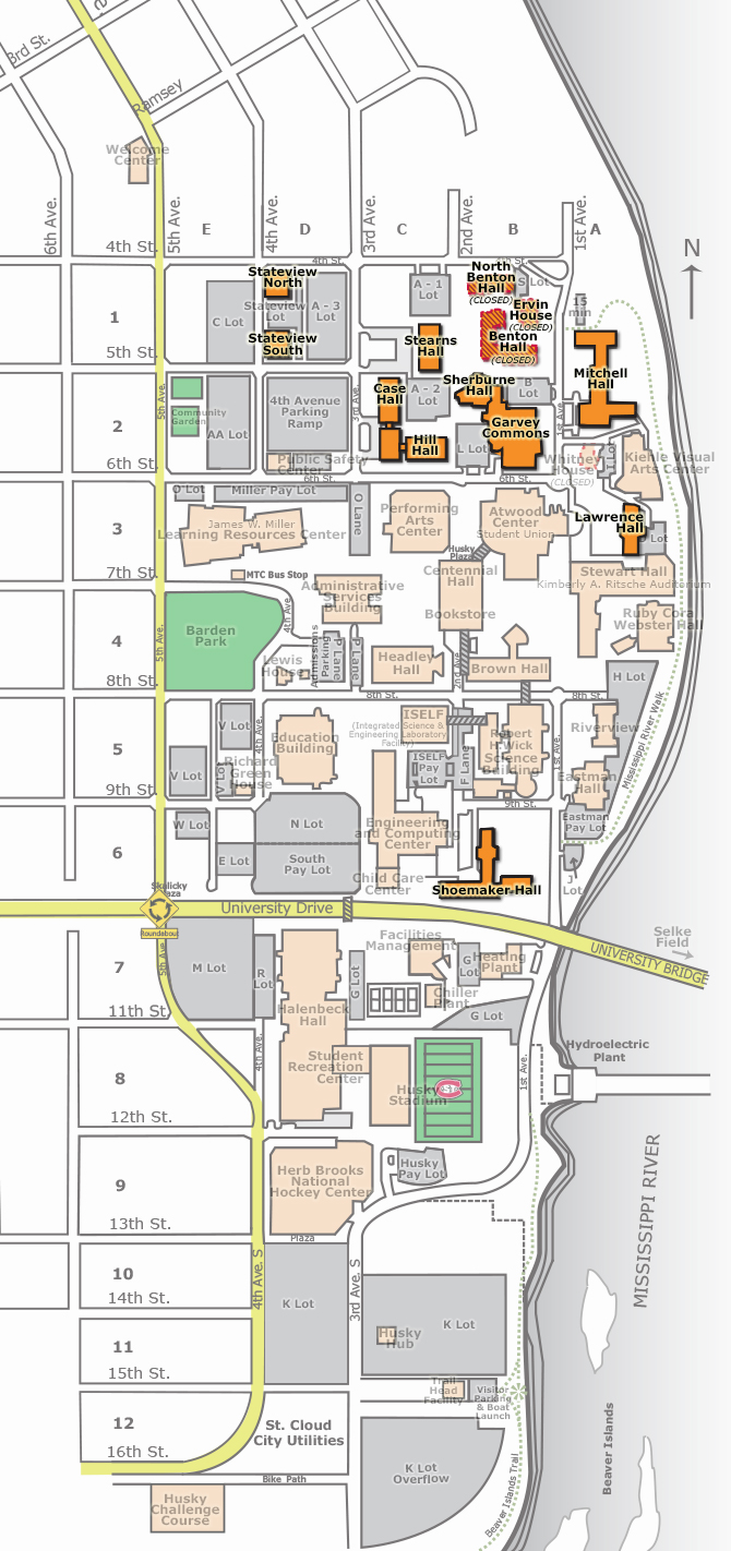 Campus Map Residential Halls St Cloud State University